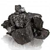 stack of black coal isolated on white background