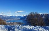 Winter landscape of mountains and lake