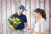 Happy flower delivery man with customer against wooden planks