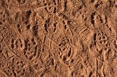 Baseball Cleat Marks In The Dirt