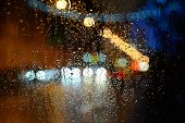 stock photo of car-window  - Wet the car window with the background of the night city lights - JPG