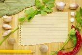 Food Ingredient With Empty Paper