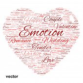 Vector concept or conceptual red love or Valentine`s Day word cloud text in shape of heart symbol isolated on white background