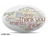 Conceptual thank you word cloud isolated for business