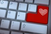 Maze heart against red enter key on keyboard