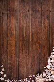 wooden deck background with seashells, summer sea vacation concept