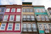 The typical old colorful buildings of the city of Porto in Portugal. Unesco World Heritage Site.