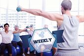 The word weekly and fitness class with dumbbells sitting on exercise balls against hexagon