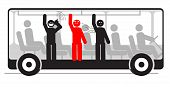 Vector illustration of angry passenger in bus full of people