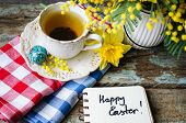 image of easter eggs bunny  - Easter time spring flowers easter eggs and easter bunny - JPG