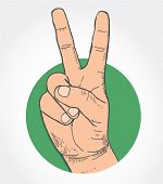 victory sign - hand-drawn illustration