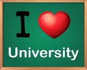 Illustration of I love university board