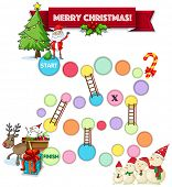 Illustration of a boardgame with christmas theme