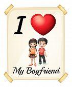 Illustration of I love my boyfriend sign