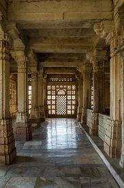 stock photo of saracen  - Interior of historic Tomb of Mehmud Begada Sultan of Gujarat at Sarkhej Roza mosque - JPG