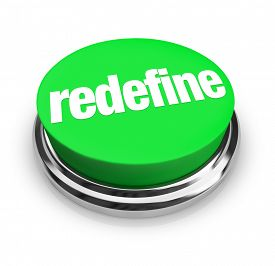 stock photo of overhauling  - Redefine word on a green button to press for reinvention - JPG