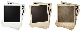 image of polaroid  - old and new polaroid photo frames stacks isolated - JPG