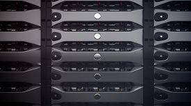 stock photo of cluster  - Modern Network servers in a data center - JPG