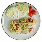 stock photo of thai cuisine  - Thai Cuisine and Food Thai Traditional Som Tam or Green Papaya Salad Made With Unripe Papaya Yardlong Bean Tomato Chili Peanut and Lime - JPG