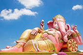 image of ganesh  - Beautiful Ganesh statue on blue sky at wat saman temple in Prachinburi province of thailand Is highly respected by the people of Asia - JPG