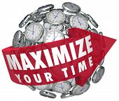 stock photo of maxim  - Maximize Your Time words on a red arrow around a sphere or ball of clocks to illustrate making moments last and prolonging enjoyment - JPG