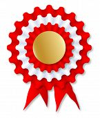 image of rosette  - A red and white rosette over a white background - JPG