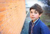 picture of preteen  - preteen handsome boy close up outdoor portrait - JPG