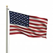 stock photo of usa flag  - Flag of the USA the flag pole waving in the wind over white background - JPG