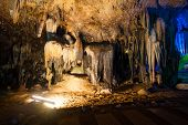 foto of calcite  - Stalactites Stalagmite and Column in a cave - JPG