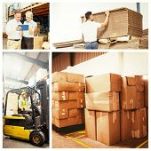 foto of forklift driver  - Cardboard boxes in warehouse against focused driver operating forklift machine - JPG