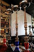 picture of shisha  - The nargile on a bar counter in the cafe