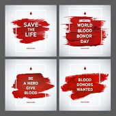 picture of blood  - Creative Blood Donor Day motivation information donor poster set - JPG