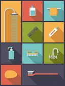stock photo of nail-design  - Personal Hygiene Flat Design Icons Vector Illustration - JPG