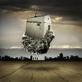 picture of surreal  - Surreal landscape with a flying house on a rock - JPG