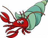foto of hermit crab  - Cartoon Illustration of Funny Hermit Crab Sea Animal - JPG