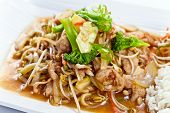foto of bean sprouts  - Stewed meat with vegetables and bean sprouts - JPG