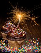 pic of sprinkling  - Two Chocolate birthday cupcakes with colorful sprinkles and lit sparkler - JPG