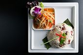 pic of green papaya salad  - Traditional dish of freshly prepared Thai food - JPG
