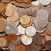 pic of copper coins  - Ruble coins taken closeup suitable as background - JPG