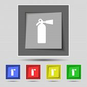 stock photo of fire extinguishers  - fire extinguisher icon sign on original five colored buttons - JPG
