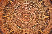 stock photo of cultural artifacts  - A close-up view of a aztec calendar