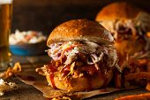 picture of pulling  - Homemade Pulled Chicken Sandwich with Coleslaw and Fries - JPG