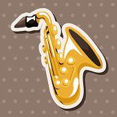 stock photo of saxophones  - Instrument Saxophone Cartoon Theme Elements - JPG