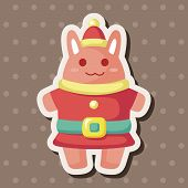 stock photo of rabbit year  - Animal Rabbit Cartoon Christmas Style Theme Elements - JPG