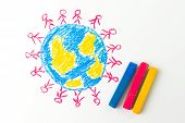 pic of united we stand  - Child drawing of people standing on the globe - JPG