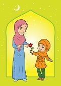 foto of humble  - Illustraton of muslim mature woman and little girl - JPG