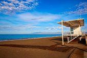 stock photo of lifeguard  - Almeria Cabo de Gata San Miguel beach lifeguard house in Spain - JPG