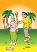 stock photo of torches  - Indonesian kids walking along in the village with torch - JPG