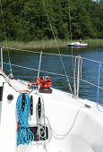 stock photo of yanks  - Winch and ropes on sailboat - JPG