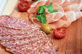 stock photo of cut  - Horizontal photo of cold cuts of beef - JPG